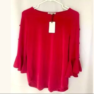 Green Envelope Small RED Knit Blouse Tunic NWT
